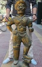 47 «Китай Древний Бронзовый Свинка Человек Зверь Бог На Быка ВОЛА Протектор Статуя