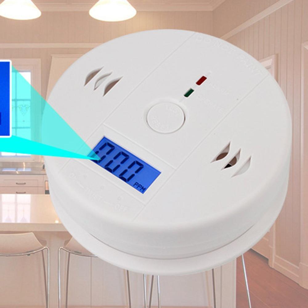 Leshp co sensor de gás detector de envenenamento por monóxido de carbono detector alarme lcd independente fotoelétrico 85db aviso alto sensível