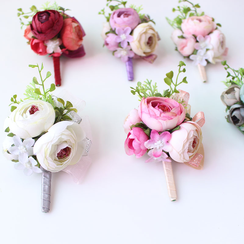 Wedding Corsages and Boutonnieres men groom artificial flowers  (21)