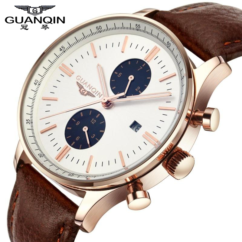 ФОТО 2015 GUANQIN New Fashion Luminous Multifunction Watches Leather Belt Fashion Men Quartz Watch Waterproof Male Wristwatches