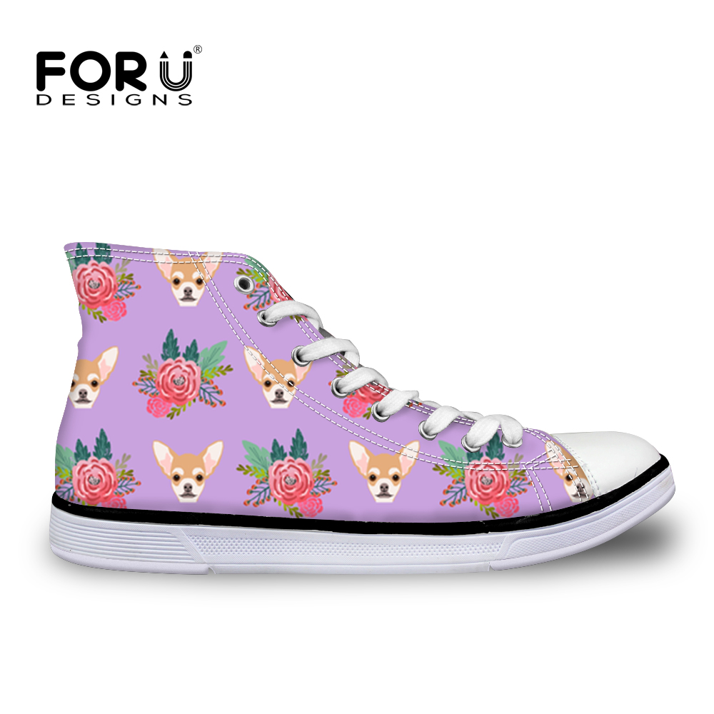 FORUDESIGNS Kawaii Chihuahua Printed Casual Flat Fashion Students Walking Lace-Up Canvas Shoes 2019 New Women Vulcanize Shoes