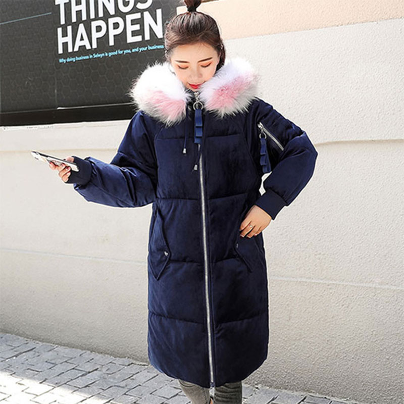 Long Fur Collar Hooded Thicken Warm   Down     Coats   Women Solid Long Sleeve Comfort Loose   Down   Bread   Coats   Female Hardy Jackets New