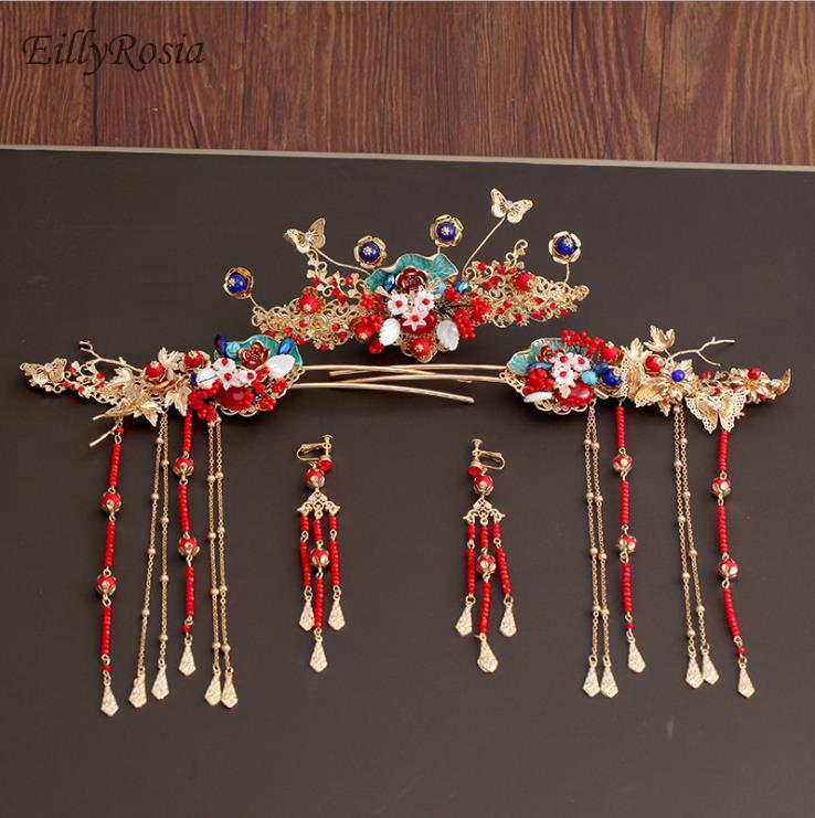 Vintage or rouge ancien Style chinois cheveux bijoux ensemble perles gland cheveux bâtons mariée mariage longue goutte boucles d'oreilles cheveux bâtons