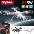 Hot syma kvadrokopter x5sw wi-fi zangão com câmera fpv voando câmera wi-fi de 2.4 ghz 4ch 6-axis gyro rc zangão