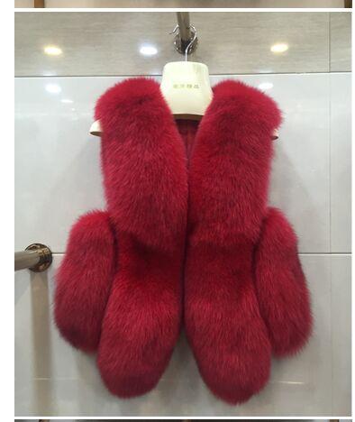 Новинка, зимние толстые теплые меховые жилеты, пальто для женщин, искусственный Лисий мех, жилет, короткие пальто, высокое качество, жилет, Женская куртка, верхняя одежда - Цвет: red