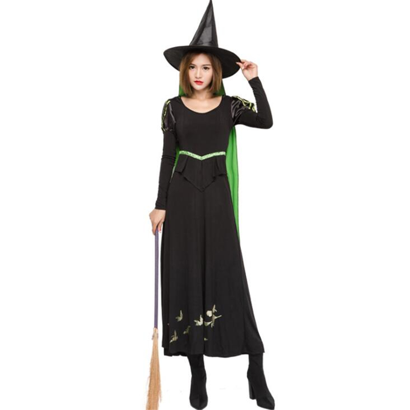 Deluxe Womens Sexy Witch Costume Halloween Party Cosplay Clothing