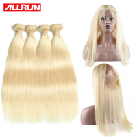 Brazilian Hair Weave Blonde Bundles With Closure 360 Lace Frontal With Bundles Remy Human Hair Straight 613 Bundles With Closure
