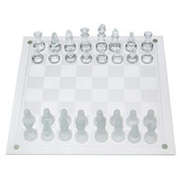 Classic Glass Chess Set Deluxe Checkers Game Strategy Board Frosted Pieces International Word Chess Game Entertainment