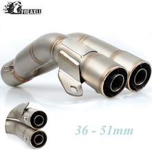 36-51MM Universal Motorcycle Double Exhaust Muffler Pipe escape moto For YAMAHA MT 09 01 07 T-MAX 530 ABS YZF R1 R6 XV 950 R ABS 51mm universal modified motorcycle scooter exhaust pipe muffler for yamaha mt09 mt 09 03 01 tmax 500 530 r1 r3 r6 fz6 fjr v max