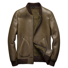 Denny Dora Mens Shearling Coat Mens Fur Coat Baseball Sheepskin Pilot Short Leather Jacket