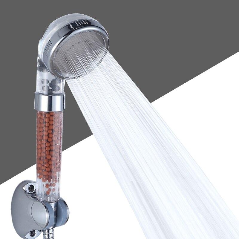 1 Pcs Saving Water Shower Bath Head High Pressure Stone Stream Handheld Shower Head With Negative Ion Activated Ceramic Balls