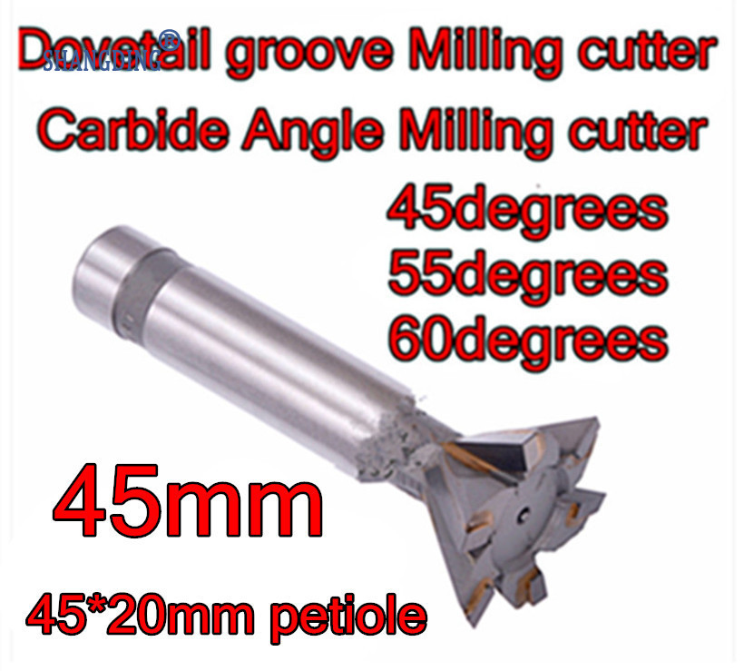 45mm 45 55 60 degrees 6F carbide Angle Milling cutter Dovetail groove Milling cutter Processing copper