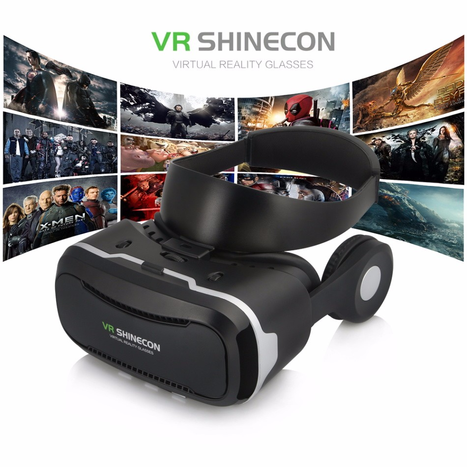 VR Shinecon 4.0 Virtual Reality 3D Glasses Headset VRBOX with Headphone Stereo/Mic/Control Button for 4.0-6.0′ Mobile Smartphone