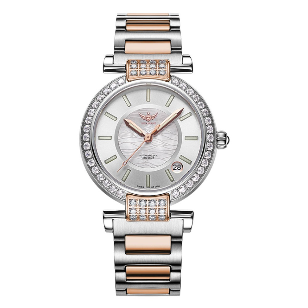 Yelang V1026 Lady Austria Crystal T100 Luminous Women Steel Band 100M Waterproof Automatic Meachanical Wrist Watch