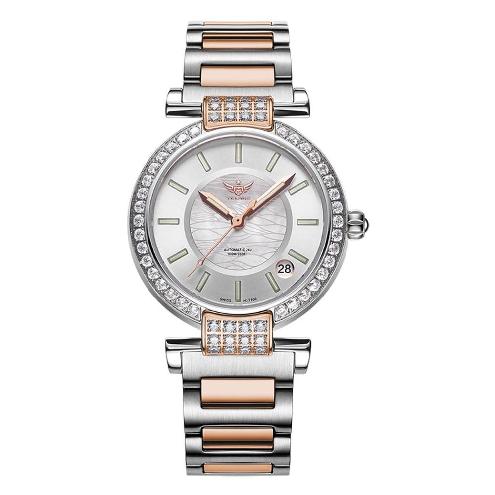 Yelang V1026 Lady autriche Crystal T100 lumineux femmes bande en acier 100 M étanche automatique montre-bracelet mécanique-Rosegold