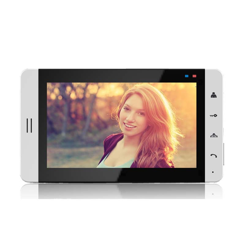 """Wired 7"""" Color TFT Touch Key Screen White Panel Recording Monitor for Video Intercom Door Phone"""