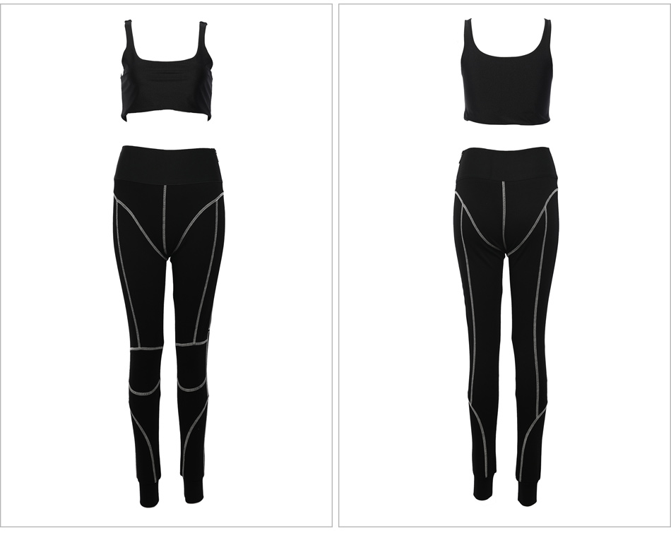 Kylie jenner Cotton Sports Two Pieces Gymwear Designer New Fashion Spaghetti Straps Elastic Waist Crop Top Legging Pants Set - kylie-jenner-outfits