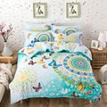 4PCS 100% Cotton bed linen 3d butterfly bedding sets colorful duvet cover king/queen/twin size bedspread blue green bed cover