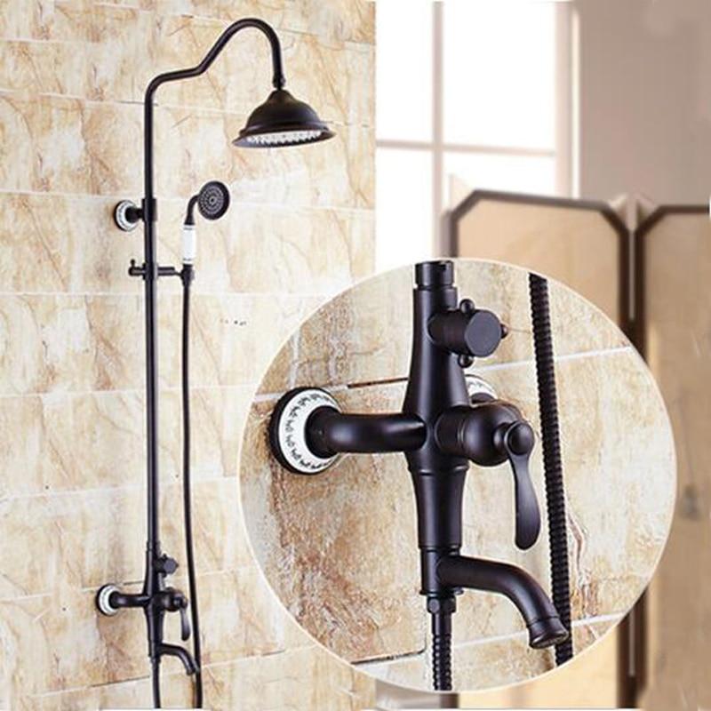 Tub Spout 8 Oil Rubbed Bronze Rain Shower Head Ceramic Hand Shower Sprayer NEW