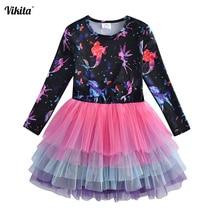 купить VIKITA Girls Tutu Dress Kids Long Sleeve Dress Girls Party Princess Dresses Children Cartoon Print Unicorn Vestidos RELH4593 по цене 507.37 рублей