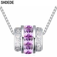 SHDEDE Purple CZ Crystal from Swarovski Women Pendant Necklaces Cubic Zirconia Bead Fashion Jewelry Anniversary Gift +21631