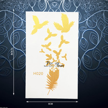 Gold Feather Eagle Bird Temporary Tattoo Body Art Sticker For Men Women Waterproof Flash Metallic Tattoo Stickers Supplies PGH20