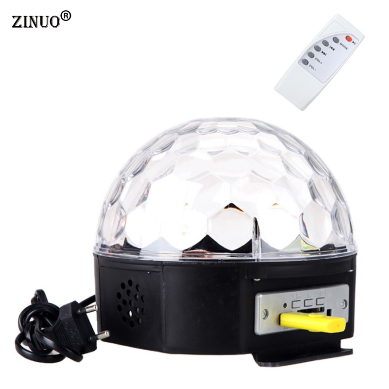 ZINUO 6 Color Voice Control MP3 RGB Crystal Magic Ball Stage Lamp Disco DJ Light Party Lights Sound Control  Laser Projector 6w e27 led stage light rgb lamp with voice activated mp3 projector crystal magic ball rotating disco dj party stage lighting