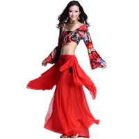 2015 New Plus Size Belly Dancing Costumes 2piece Top Dress Belly Dance Costumes For Women Red