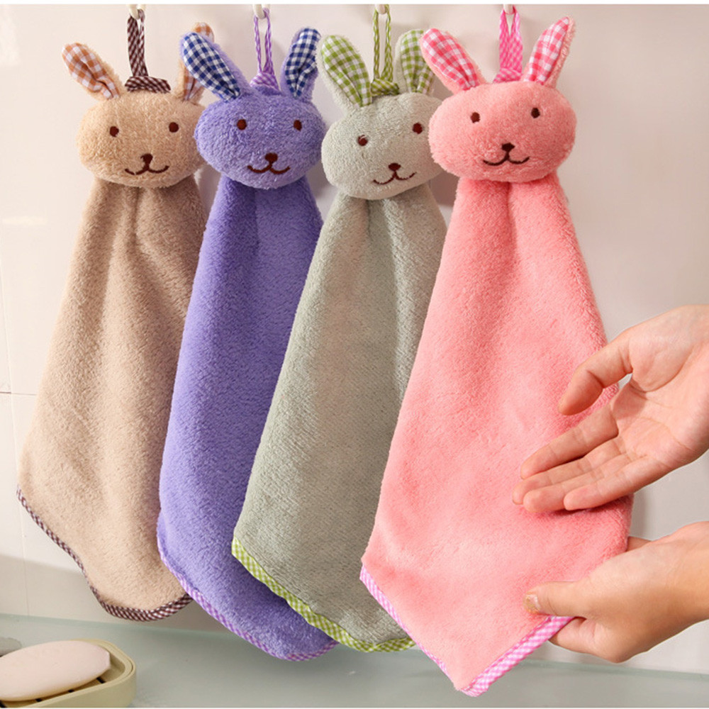 2018 soft Coral Fleece Baby Hand Towel Cartoon Animal Rabbit Plush Kitchen Soft Hanging Bath Hanging Wipe Towel #0224