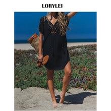 71ad040cc42 2019 Sexy Hollow Out V-Neck Mini Beach Dress Summer Women Beachwear Black Cotton  Tunic Swim Suit Cover Up Plus Size Sarongs N710