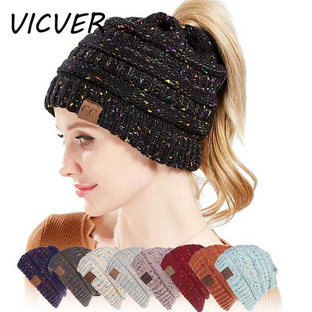c7056bfc628 Winter Hats For Women CC Ponytail Beanie Messy Bun Woolen Hat Casual Mix  Color Knitted Warm Cap Skullies Beanies Soft CC Hats