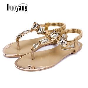 Image 5 - Summer Woman Sandals 2020 high quality Rhinestone women shoes flip flops ladies casual summer beach shoes women flats sandals