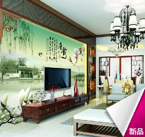 Custom Modern Chinese decoration living room sofa large mural 3D stereoscopic wallpaper photo fabric TV sofa wall paper