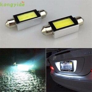 High Quality 2 X White Xenon 31mm /36mm/39mm/41mm Car COB LED License Plate Light 6418 C5W 4W LED Bulbs 12V(China)