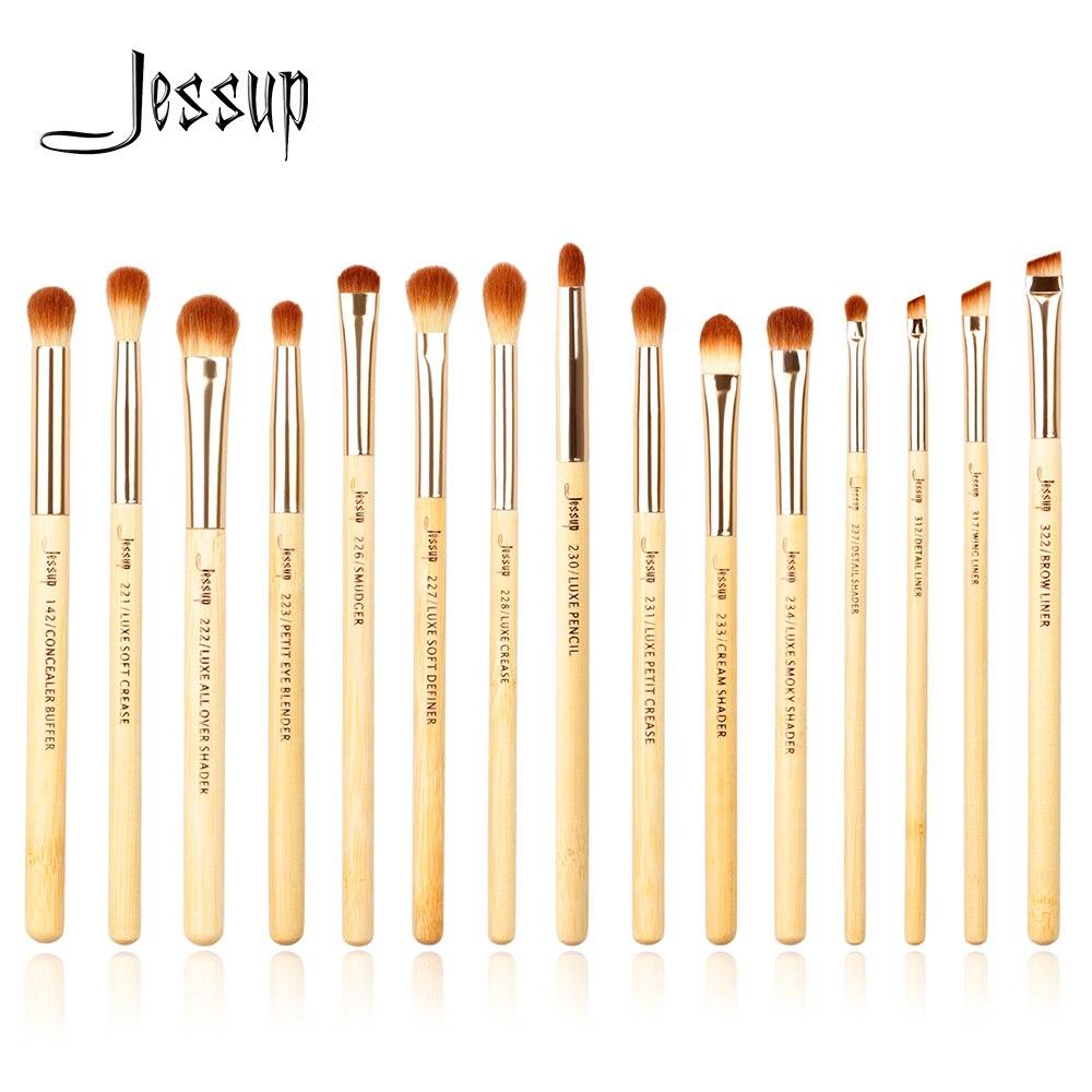 Jessup marca 15 pçs beleza bambu pincéis de maquiagem profissional conjunto maquiagem kit ferramentas escova olho shader forro vinco definer buffer