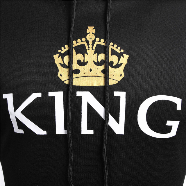 2018 KING Queen Hoodies Crown Print Unisex Men Women Spring Hoodies Sweatshirt for Couple Lovers Winter Letter Hooded Pullovers