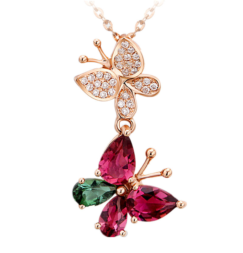 Tourmaline naturelle pendentif collier 925 en argent Sterling mode gemme pierre de naissance fille amour cadeau mignon papillon femme bijoux