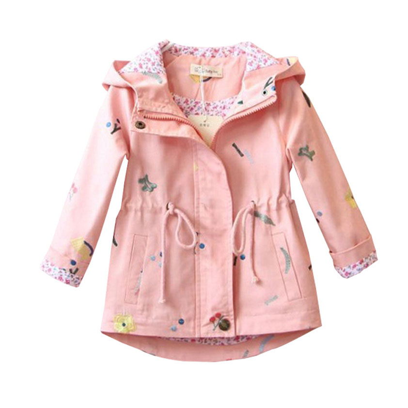 Trench   Coat Autumn Spring Children's Outerwear for Baby Girls Girls   Trench   Coat Jacket Children's Embroidered Long Sleeve Hooded