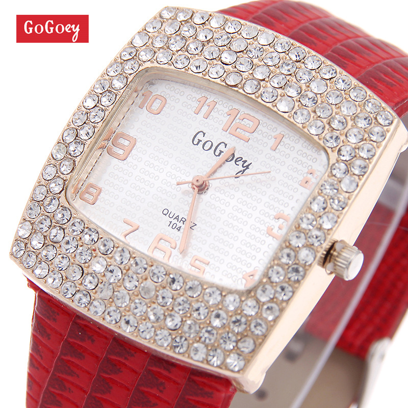 Luxury Gogoey Brand leather watches Women Lady Crystal Dress Quartz Wristwatches Relogio Feminino go070 2016 winner watches women lady luxury brand skeleton automatic mechanical wristwatches artificial leather band relogio feminino