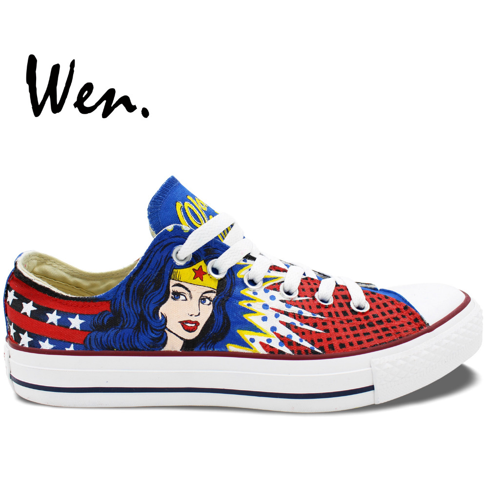 Wen Hand Painted Shoes Wonder Woman Custom Design Men Women's Low Top Casual Canvas Sneakers Platform Flat Lace up Plimsolls pink lace up design long sleeves top and pleated design skirt two piece outfits