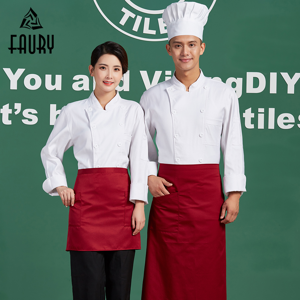 White Chef Restaurant Work Uniforms Long Sleeve High Quality Pure Color Cooking Clothes Kitchen Jacket Hotel Waiter Coats Aprons