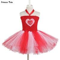 3D Cuore Delle Ragazze Princess Tutu Dress Bambini Tulle Rosso Ragazza Festa di Compleanno Dei Capretti del Vestito Di Natale Halloween San Valentino Costume