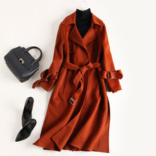 2017 new brand runway women autumn winter wool coat fashion top quality 100% wool long solid double-sided wool coats