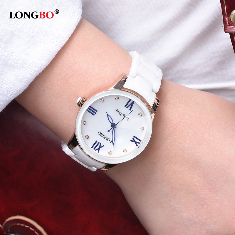 LONGBO Brief Shell Face Dial Ceramics Strap Watches Women Ladies Bracelet Wrist Watch Dropshipping Clock Relojes Mujer 80170