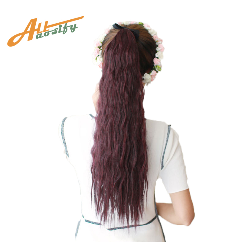 Allaosify Hair 22 Long Curly Ponytail For Black Women -1817