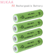 4Pcs Ni-MH 1.2V 3800mAh Green AA Rechargeable Nickel-metal Hydride Battery 14mm*50mm gp batteries nickel metal hydride series 970 mah