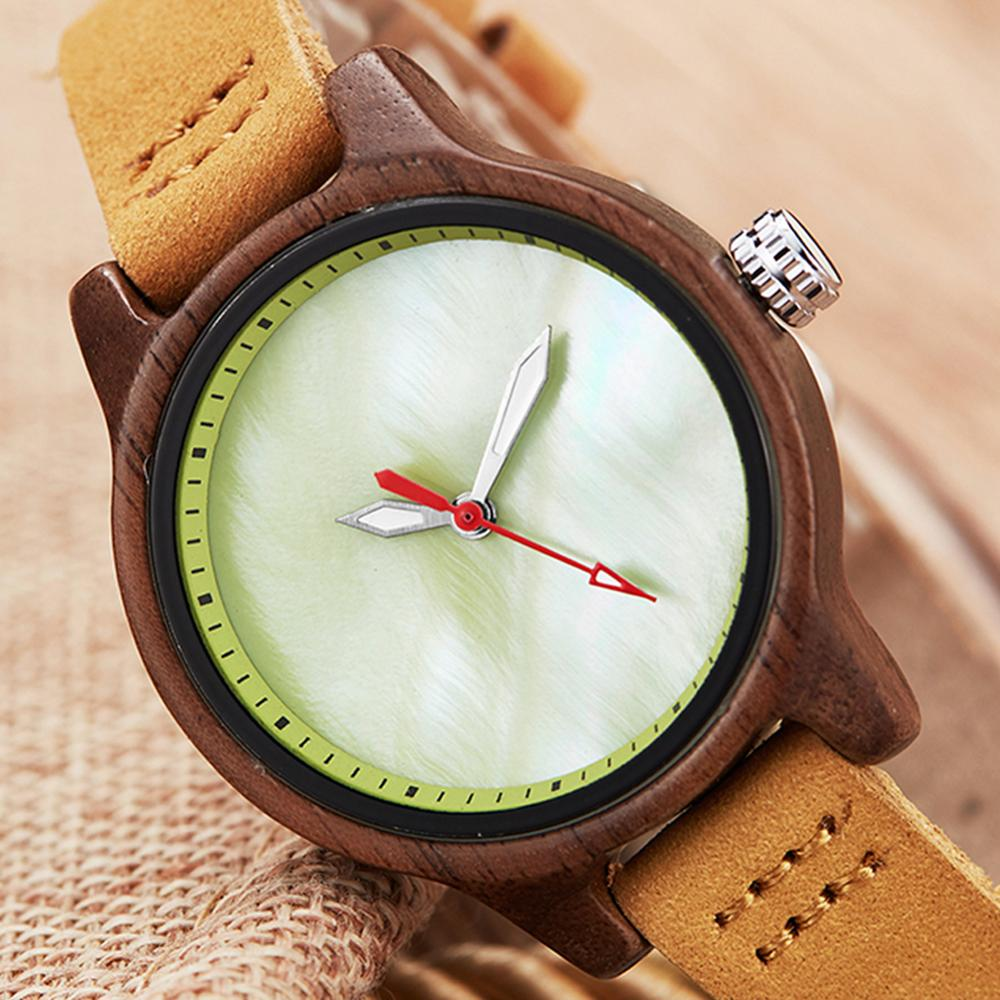 Elegant Women Wood Watches Female Small Bracelet Quartz Wristwatch Ladies Wooden Watch Rosewood Cameo Shell Wrist Clock For Girl