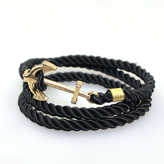 nouveau produit b8d42 50198 US $0.91 |2016 New Men Bracelets Navy wind DIY winding multilayer woven  ancient silver plated anchor bracelet explosion sell tom hope-in Chain &  Link ...