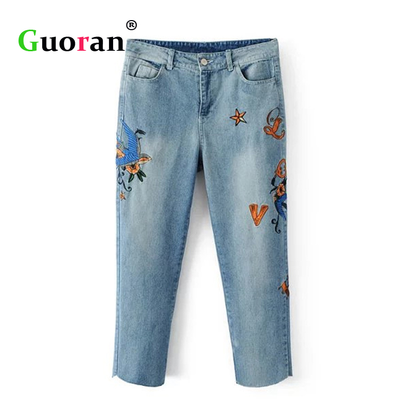 {Guoran} Embroidery Jeans Pants Women Ankle Length Harem Jeans Trousers 2017 Summer Fashion Loose Ripped Pants Femme Pantalon