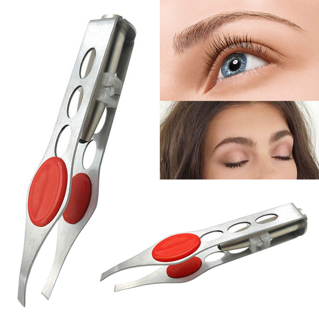 Stainless Steel Eyebrow Tweezers Four-hole LED Light Eyebrow Clip/Hair Removal Tweezer/ Face Hair Remover